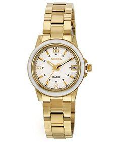 Casio Damen-Armbanduhr XS Analog Quarz Edelstahl SHE-4512G-7AUER - http://uhr.haus/casio/casio-damen-armbanduhr-xs-analog-quarz-edelstahl-2
