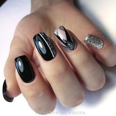 Natural Acrylic Black Almond & Square Nail Designs For Short Nails - Page 9 of 33 - Nail art Square Nail Designs, Black Nail Designs, Short Nail Designs, Cute Nail Designs, Diy Nails, Cute Nails, Pretty Nails, Shellac Nails, Nail Gel