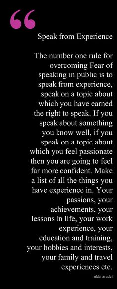 Public Speaking Tip #1 ~ Speak From Experience #publicspeakingtips