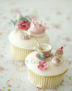 Tea Party decorated Cupcakes