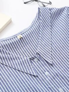 Shop Blue Vertical Striped V Neck Button Up Blouse at ROMWE, discover more fashion styles online. Spring Shirts, Vertical Stripes, Blouse Online, Plus Size Blouses, Blue Blouse, Shirt Sleeves, Sleeve Styles, Fashion News, Preppy