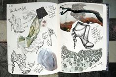Fashion Sketchbook with shoe sketches - organic meets futuristic; footwear design & development