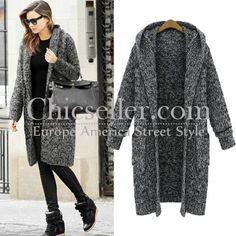 ChicSeller Long Grey Hooded Knitting Coat