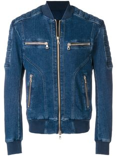Balmain Quilted Zipped Denim Jacket In Blue Denim Jacket Men, Leather Jacket, Denim Display, Balmain Men, Masculine Style, Stylish Jackets, Jeans Material, Denim Fashion, Classic Outfits