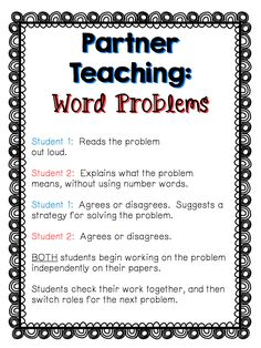 Download this free strategy sheet for having students complete word problems in partners - talking about the problem and a solution together REALLY helps them understand what a problem means!