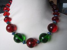 Vintage Deco Stunning Huge Red Green Glass Beads Necklace with Blue Wheels  £58.00 (BIN) +4.60PP