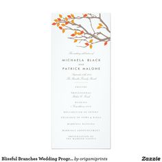 Blissful Branches Wedding Program 4x9.25 Paper Invitation Card