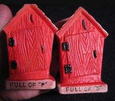 Vintage Salt & Pepper Shakers RED Ceramic Outhouse & Catalog Unique & kitschy