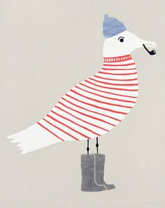 Seagull painting from pinkwallpaper.blogspot.com • seagull in red and white jumper and beanie and gumboots and smoking pipe • sailing high seas • riawati