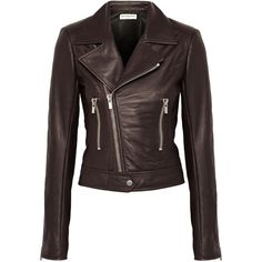 Balenciaga Leather biker jacket ($2,410) ❤ liked on Polyvore featuring outerwear, jackets, coats, dark brown, black moto jacket, moto jacket, motorcycle jacket, asymmetrical zip jacket and 100 leather jacket
