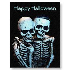 Skeleton Love Halloween Postcard by SteveBrownleeArt