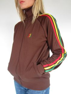 Indie 1980s Brown Rasta Striped Adidas Sports Top Sweatshirt Track Top Retro  Sporty Hip Hop Small