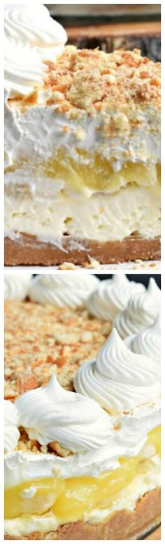 No Bake Banana Cream Cheesecake ~ No oven needed with this beautiful, layered NO BAKE Banana Cream Cheesecake... You'll love the cookie crust with the creamy cheesecake, fresh bananas, banana pudding and whipped topping!