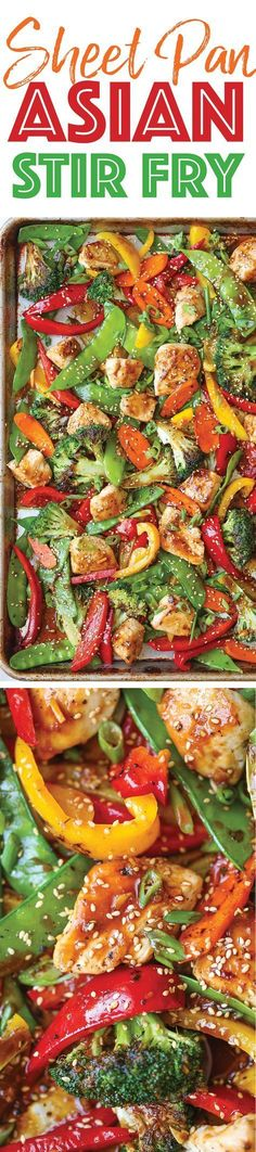 Sheet Pan Asian Stir Fry - Everyone's favorite classic stir fry made on a sheet pan! No fancy wok/skillet needed here. Only one pan for clean-up. YESSSSS! paleo dinner stir fry