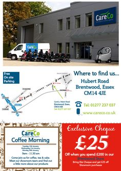 CareCo Coffee morning, 21st January 2015 - Call 01277 237037 and pop down for a coffee and some cake! £25 OFF when you use this voucher!