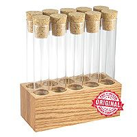 Premium quality wood and test tube kitchen spice rack.