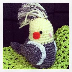 Little Crocheted Cockatiel Amigurumi I made in memory of my cockatiel chicken on the morning he passed away.