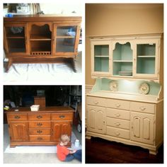 DIY china cabinet china hutch before and after chalk paint