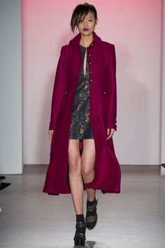 A jewel tone coat is just the kind of boost you can use in the final days of a long winter. Nanette Lepore - Fall 2015 RTW