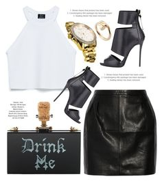 """""""Drink Me"""" by monmondefou ❤ liked on Polyvore featuring Cecilia Ma, Zara, BLK DNM, Giuseppe Zanotti, Wittnauer and Cartier"""