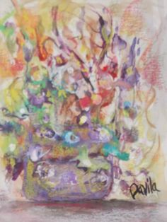 """""""COUNTRY FLORAL"""" IMPRESSIONISTIC WATERCOLOR & SOFT PASTELS PAINTING, 9""""X12"""" #Impressionist"""
