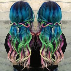 Hippie chic rainbow hair color and style by Breanna @breanna_anythingbutbasic. hotonbeauty.com mermaid hair unicorn hair