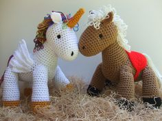 CV128 - Rainbow & Cleo Crochet Pattern  Crochet a cute horse or unicorn for any child you know!!!!   Cleo the horse has a saddle on and Rainbow the Unicorn features a gold horn. Both are made from worsted weight yarn and work up quickly!!!    SKILL LEVEL:  Intermediate  http://www.maggiescrochet.com/collections/new/products/rainbow-and-cleo-crochet-pattern