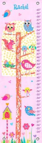 """Little Owls"" personalized growth chart by Rachel Taylor for Oopsy daisy, Fine Art for Kids $49"