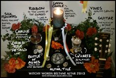 Witchy Words Beltane Altar 2013 - Pinned by The Mystic's Emporium on Etsy Beltane, Wiccan Altar, Green Witchcraft, Dried Rose Petals, Sabbats, Samhain, Mabon, Book Of Shadows, Dream Boards