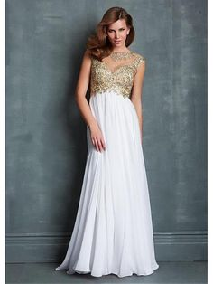 Alluring Chiffon & Tulle Jewel Neckline Floor-length A-line Evening Dress