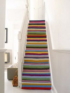 """Love these images from Poppytalk 's """"if I had a house"""" post, particularly the stripes up the stairs. 233, Interior Desing, Painted Stairs, Painted Decks, Amber Interiors, House Stairs, Stairway To Heaven, Staircase Design, Staircase Ideas"""