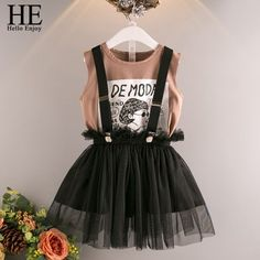 HE Hello Enjoy Girls Clothes 2 3 4 5 6 Years Children's Clothing Sets Cartoon Print Letter T-shirt+Suspender Mesh Skirt Outfits Enjoy Girl, Mesh Skirt, Baby Shirts, Holiday Fashion, Holiday Dresses, Summer Girls, Trousers Women, Skirt Outfits, 6 Years