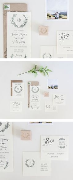 simple calligraphy wedding stationery