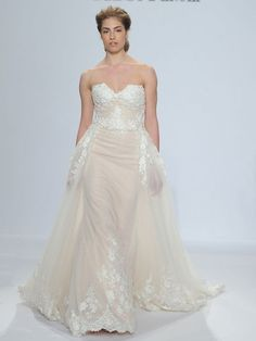 d89caeb0fca9 Randy Fenoli Spring 2018 strapless sweetheart wedding dress with detachable  box-pleated tulle overskirt,