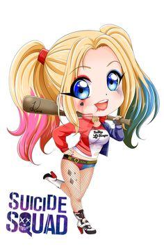 Kawaii Girl Drawings, Cute Disney Drawings, Cute Drawings, Harley Quinn Comic, Joker And Harley Quinn, Chibi, Girl Cartoon, Cartoon Art, Nail Art Dessin