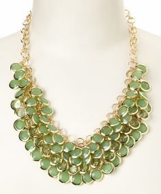 Gold & Mint Green Cluster Bib Necklace