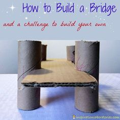 How to Build a Cardboard Bridge and the Challenge and Discover link up. We challenge you to build a bridge with your kids and share what you did! I know im gonna need this on a team building challenge one day! Stem Projects, Science Projects, School Projects, Projects For Kids, Crafts For Kids, Steam Activities, Science Activities, Activities For Kids, Science Books