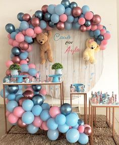 13 Suggestions for 1 Year Birthday Table Idea Seekers! – Party And Me Gender Reveal Party Decorations, Girl Baby Shower Decorations, Baby Shower Centerpieces, Balloon Decorations, Birthday Decorations, Balloon Garland, Gender Party, Baby Gender Reveal Party, Gender Reveal Themes