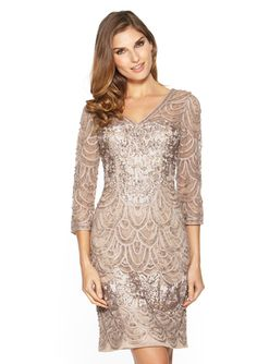SUE WONG Elbow Sleeve V-Neck Lace Dress - mother of bride