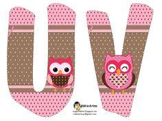 Alfabeto de búhos en tonos rosa. | Oh my Alfabetos!