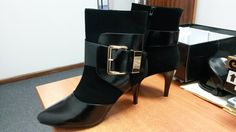 Black Ankle Heeled Boot with Ankle Buckle by Pierre Cardin Ankle Heels, Ladies Boots, Pierre Cardin, Booty, Lady, Shoes, Fashion, Swag, Zapatos