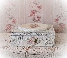 Jewellery Storage, Jewelry Box, Decoupage Box, Sarah Kay, Craft Projects, Decorative Boxes, Scrap, Shabby, Card Holder