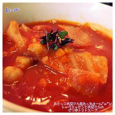 フジッコのお豆さんで『その3』は シャウエッセンと残り野菜を使いトマトジュースとブイヨンで簡単トマトスープ。チリペッパーをアクセントにしてピリ辛に仕上げました(=゚ω゚)ノ - 136件のもぐもぐ - 『フジッコのお豆さん当たったよー!シャウエッセンとお豆さんのピリ辛トマトスープ』 by marron80