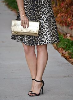 Karen Kane Cheetah Print Scuba Dress   | Fossil Erin Foldover Clutch in gold | Black Ankle Strap Heels | Max & Chloe Starburst Bangle  | T+J Designs Gold Chain Crystal Accent Necklace #Cheetah #Print #Scuba #Dress #Glamour #Plus #Size #Fashion #Street #Style #Karen_Kane #Outfit_Ideas #Plus_Size_Fashion
