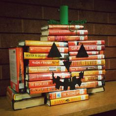 thelifeguardlibrarian:  Because seasonal book piles are best. Via Sunnyvale Public Library.