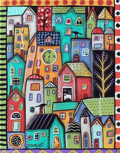 Six PM, a wonderful 500 piece jigsaw puzzle by Educa, features a unique piece of art by Karla Gerard. Karla Gerard, House Quilts, Naive Art, Silk Painting, Whimsical Art, Art Lessons, Home Art, Stencil, Art Projects