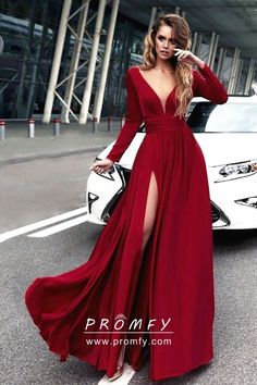 aaf56c3b2418 Crimson Red Satin Chiffon Long Sleeve Side Slit A-line Long Prom Dress