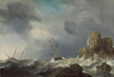 """Willem van de Velde the Younger, """"Ships in a Gale,"""" 1660, oil on panel"""