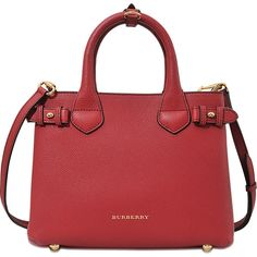 Burberry Small Banner House Check bag ($1,135) ❤ liked on Polyvore featuring bags, handbags, shoulder bags, red, studded purse, burberry handbags, red purse, studded handbags and burberry purses