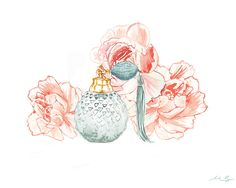 Peonies and perfume, watercolour painting, A3 giclée print